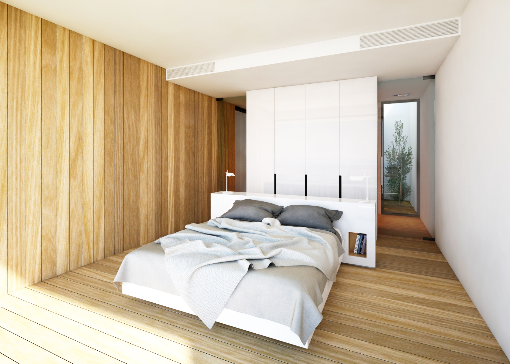 Contemporary Glass-and-Timber Bedroom