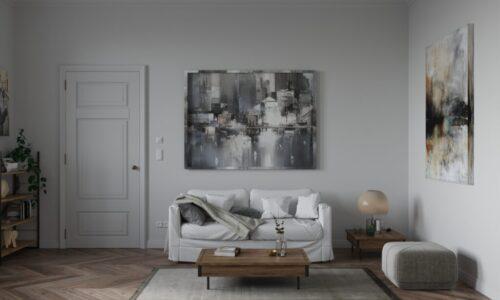 Contemporary Living Room Design in Grey Cream Tones