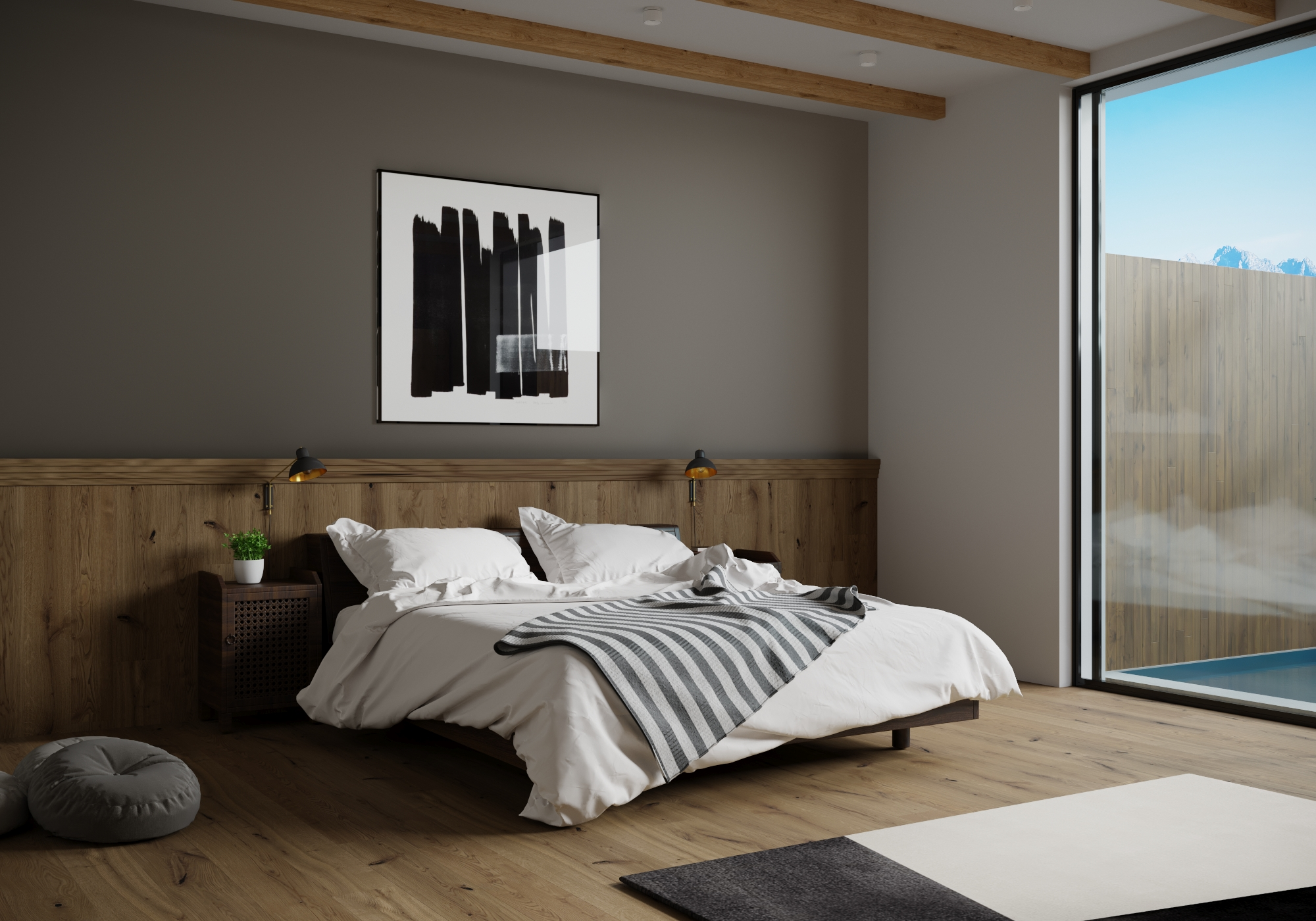 Contemporary Glass & Timber Bedroom Design
